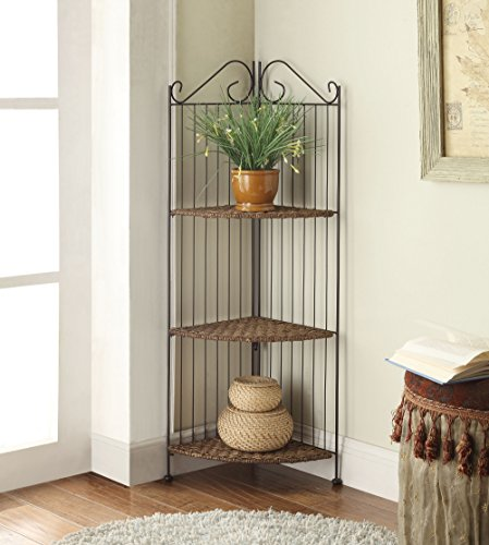 Farmington 3 Tier Folding Corner Maize Weave/ Black Iron Shelf 4d Concepts Folding Desk