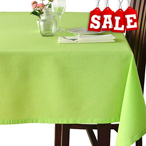 (Poly-Cotton Linen Square Green Tablecloth – Stain Resistant French Rectangular & Square Kitchen Table Cloth – Dinner Table Christmas New Year Eve Easter Dinner Gift (Sage green, Square)