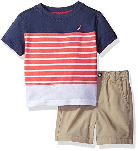 Nautica Baby Boys' Sleeve Tee and Flat Front Short Set, Ink, 18 Months