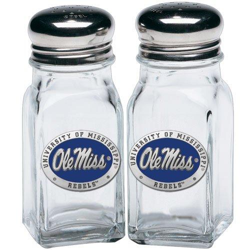UNIVERSITY OF MISSISSIPPI, OLE MISS REBELS SALT & PEPPER SHAKERS WITH PEWTER (Ole Miss Salt)