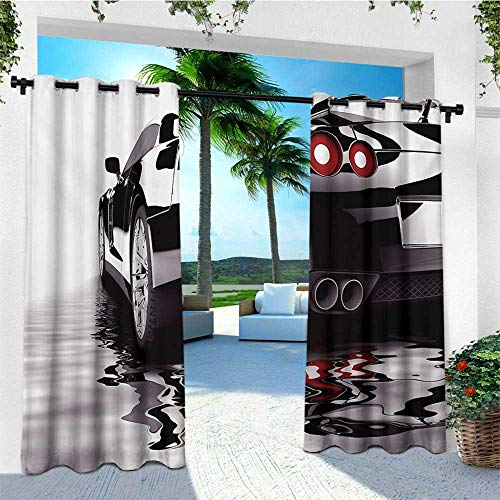 (leinuoyi Cars, Outdoor Curtain Panels Set of 2, Modern Black Car with Water Reflection Prestige Fast Engine Performance Lifestyle, Outdoor Privacy Porch Curtains W96 x L96 Inch Black Red White)
