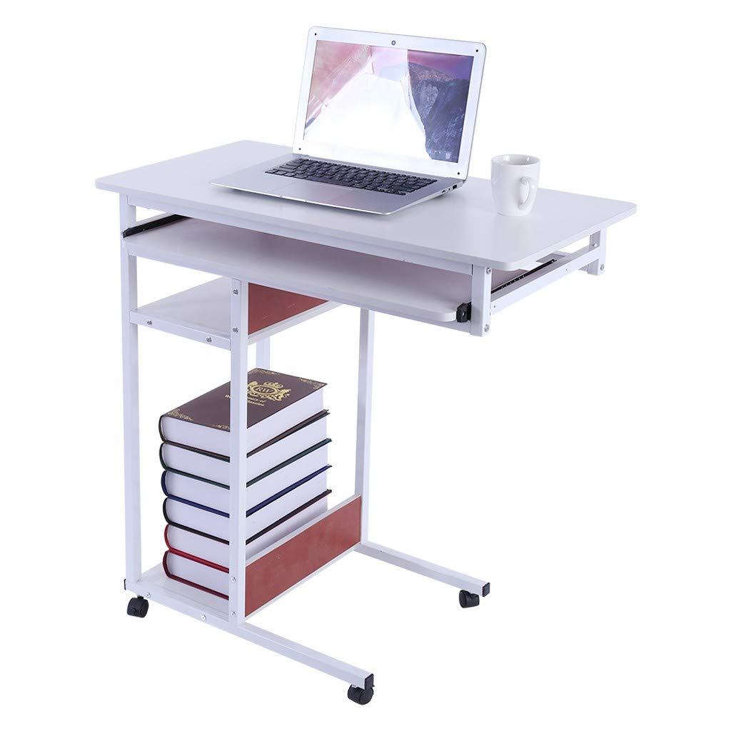 Hstore Mobile Bedside Computer Desk, Lazy Bedside Laptop Table Four-Tier Storage Placed Keyboard Sofa End Table A Multi-Purpose Table Learning Desk,Dining Table, Etc.(US Stock)