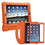 HDE iPad Air 2 Bumper Case for Kids Shockproof Hard Cover Handle Stand with Built in Screen Protector for Apple iPad Air 2 (Orange)
