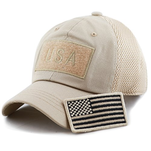 - THE HAT DEPOT Low Profile Tactical Operator with USA Flag Patch Buckle Cotton Cap (USA- Khaki)