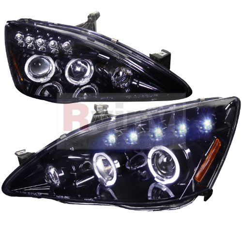(Spec-D Tuning Honda Accord 2003 2004 2005 2006 2007 LED Halo Projector Headlights - Black)