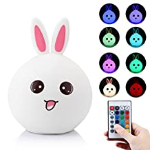 Silicon Rabbit Bunny LED Night Light for Kids,Remote Control Table Lamp Tap Control USB Rechargeable Beside Lamp for Baby Child Bedroom Lighting Decor Christmas Gift (pink)