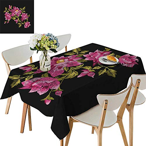 Ornament Bush (UHOO2018 Polyester Tablecloth Rose Traditional Folk gen Daisy Bush Flowers Ornament Square/Rectangle Spillproof Tablecloth,54 x106inch)