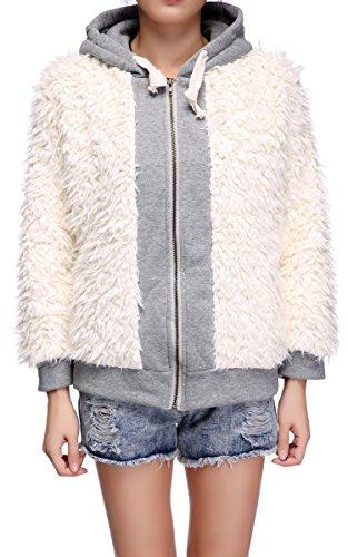 Womens Stylish Loose Casual Fluffy Fleece Long Sleeve Hooded Coat Poncho Jacket