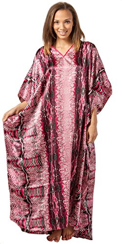 Winlar Caftans - Long Satin Charmeuse One Size Kaftan - Fuchsia Congo (One Size Fits Most, Fuchsia/Black/White) -