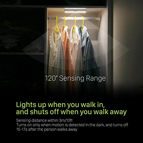 Wardrobe Light, OxyLED Motion Sensor Closet Lights, 20 LED Under-Cabinet Lightening, USB Rechargeable Stick-on Stairs Step Light Bar, LED Night Light, Gun Safe Light with Magnetic Strip, 1-pack, T-02U by OxyLED (Image #1)