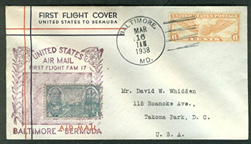 United States Baltimore-Bermuda First Flight Air Mail Cover 1938 (Airmail Flight Cover First)