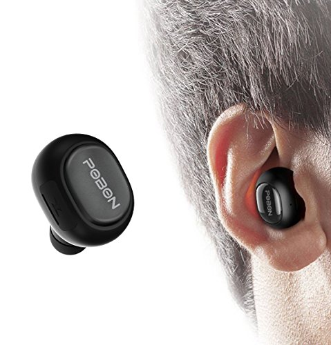 Bcway Bluetooth Headphones, Wireless Mini Car Earphone with Mic [USB Charger, 6 Hours Playing Time] Mini Hands-Free Stereo Noise Canceling Single in Ear Earbud for iPhone Samsung iPad (Black1)