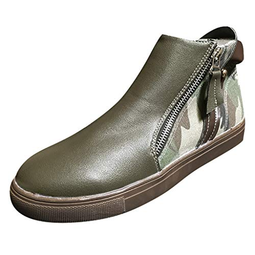 Respctful✿Ankle Boots, Waterproof Booties, Memory Foam Insole, Non-Slip Rubber Sole, Womens Casual Shoes, Leather Lining Green