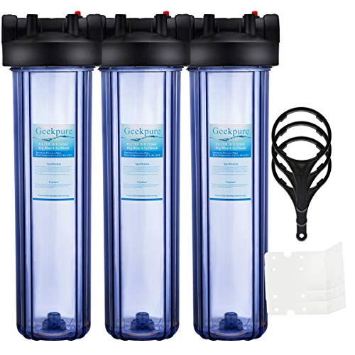 Geekpure Big Blue Water Filter Housing 1-Inch Outlet/Inlet with Wrench and Bracket -4.5 Inch x 20 Inch - Clear Housing (3)