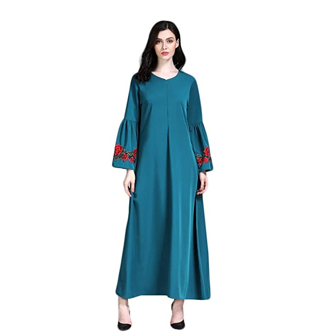 Rucan Muslim Women Islamic Pure Color Embroider Plus Size Middle East Long  Maxi Dress (A a6c83c32899a