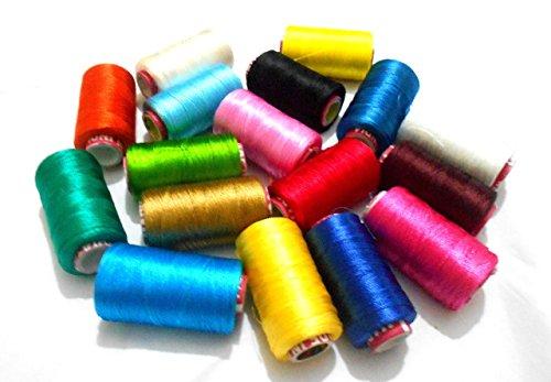 GOELX Silk Thread 17 Main Color Set for Jewellery-Tassel Making- Embroidery-Crafts, Shiny Soft Thread Spools