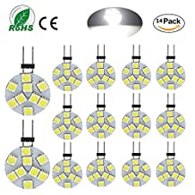Ei-Home 14-pack high bright Side Pin G4 LED Bumb, 5050-9SMD 2.5W DC 12V 250LM White 6000K LED Light Bulb for Home kichten, Reading, Car, Marine, RV, Cabinet, Decorative Lighting