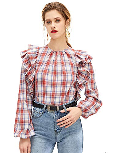 Romwe Women's Lantern Sleeve Layered Ruffle Trim Plaid Blouse Top Red S (Blouse Layered Ruffle)