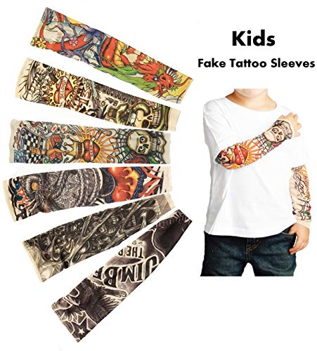 iToolai Temporary Tattoo Sleeves for Kids, Fake Slip On Arm Sunscreen Sleeves, 6pcs - Eagle,Skull,Dragon,Clown, Snake,etc]()