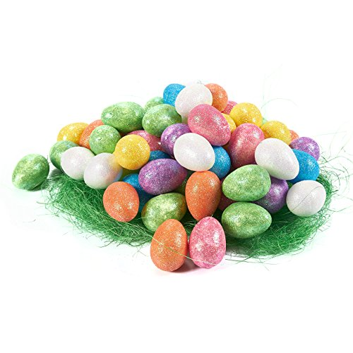 72 Pack Foam Easter Egg Ornaments Home Decorations - Decorative Easter Eggs for DIY Crafts and Assorted Easter Decorations, Multicolor, 1.5 x 1 x 1 Inches