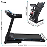Benlet 3.0HP Folding Electric Treadmill, 5inch LCD Display Touch Screen Folding Walking Running Machine Exercise Equipment for Home Gym Fitness (Blue)
