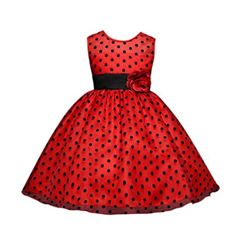 Dot Flower Girl - G&Kshop Girls Dress Black Dot Flower Tulle Party Pageant Wedding Party Dress (4 Years, Red)