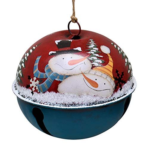 E-view Christmas Tree Ornament Metal Rustic Jingle Bell Hanging Ornaments with Snowman Santa, Decorative Sleigh Bells Winter Decor Xmas Party Supplies Holiday Decoration for Home (2 Snowman)