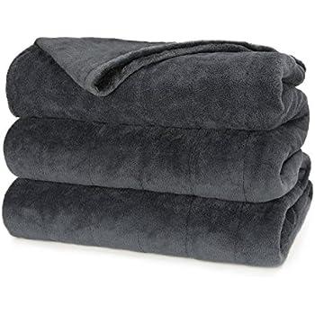 Sunbeam Heated Blanket   Microplush, 10 Heat Settings, Slate, King - BSM9KKS-R825-16A00