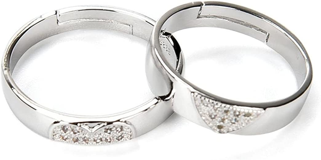 Becoler Love Heart Shape Promise Band Opening Ring for Lover Wedding Jewelry