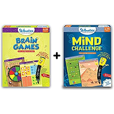 Skillmatics - Brain Games + Mind Challenge Bundle (Ages 6-99) | 12 Erasable and Reusable Activity Mats | 2 Travel Toys with Dry Erase Markers | Learning Tool for Kids 6, 7, 8, 9 Years: Toys & Games