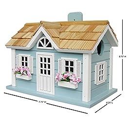 Home Bazaar Hand-made Nantucket Cottage Blue Bird House – Bird Friendly – Home Decor