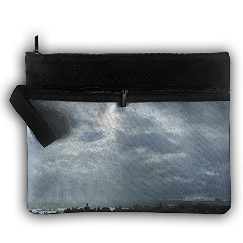 LALIAN Clouds Sun Rays Church Zipper Printing Waterproof Fabric Cosmetic Bags Portable Travel Toiletry Pouch Makeup Organizer Clutch Bag by LALIAN