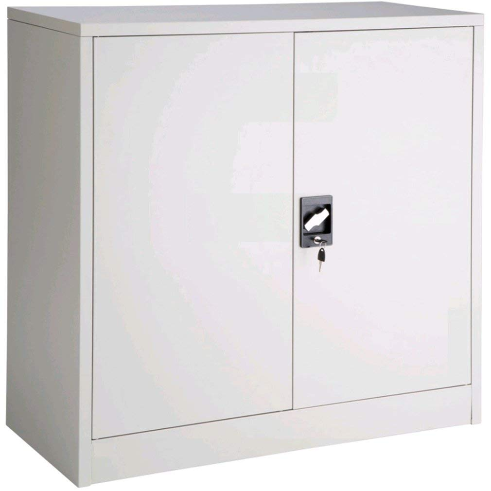 KinshopS Office Storage Cupboard Metal Office Filing Cabinet 2 Doors and Lock System - Different Sizes (90x40x90cm White)