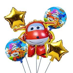 LIUUWO Balloon 5 Unids Super Wings Globo Jett Globos 3D ...