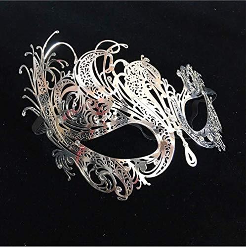 LIAN Halloween Masks, Men and Women, Iron Mask, Metal Hollowed in, Phoenix Mask, Dance Face Half Face Mask. (Color : Gold)