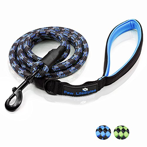 Climbing Cotton Shorts - Extra Heavy Duty Rope Dog Leash - 6ft Long, Soft Padded Handle For Comfort, Reflective - Perfect Rope Leash for Medium and Large Dogs