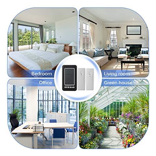 GEMITTO Thermometer Digitale mit 2 zusätzlichen Sensoren, Alarmfunktion Innen- und Außentemperaturanzeige mit MIN/MAX Records für Raumklimakontrolle Raumluftüerwachtung