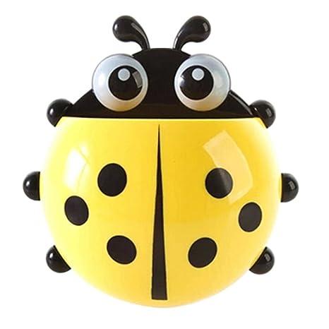 Momangel Creativo Mariquita Porta Cepillos de Dientes con Ventosa Accesorios para Baño (Amarillo)