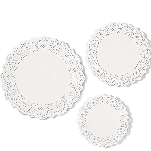 eBoot 36 Pieces White Lace Paper Doily Cake Packaging Paper Pad, 6.5 Inch, 8.5 Inch, 10.5 Inch (White Paper Doilies)