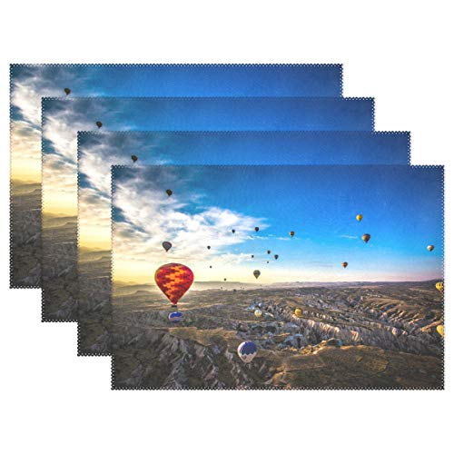 Promini Heat-Resistant Placemats, Hot Air Balloon in Turkey Washable Polyester Table Mats Non Slip Washable Placemats for Kitchen Dining Room Set of 4 ()
