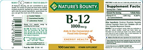 Natures Bounty B12 Tablets, 1000 mcg