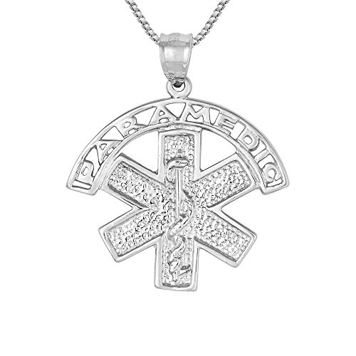 Medical Symbol Sterling Silver Charm (Sterling Silver Paramedic Medical Symbol Charm / Pendant, Made in USA, 18