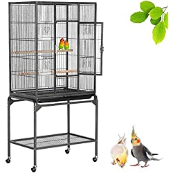 Yaheetech Wrought Iron Construction Rabbit Ferret Chinchilla Adult Rat Sugar Glider Guinea Pig Small Animal Cage Mid-Sized Parrot Cockatiel Quaker Sun Parakeet Green Cheek Conure Bird Cage