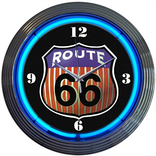 Route 66 Motorcycle (Neonetics Cars and Motorcycles Route 66 Round Neon Wall Clock, 15-Inch)