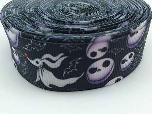 PEPPERLONELY Brand 10 Yards 22mm (7/8 Inch) Halloween Skull & Ghost Printed Grosgrain Ribbon