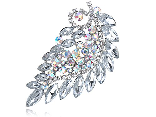 Alilang Clear Bridal Aurora Borealis Rhinestone Crystal Leaf Branch Flower Pin Brooch
