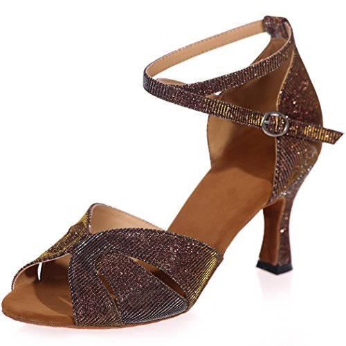 Sarahbridal Women Glitter Prom Shoes Peep Toe Evening High Heel Wedding Bridal Sandals For Girls Size SZXF8349 Brown 17ezR