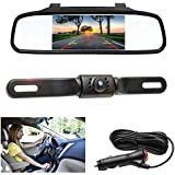 Camecho Car Rear View Camera Easy Install 4.3 inch Mirror Monitor License Plate Camera Wide Viewing 7 IRS Night Vision IP68 Waterproof, 6.5M AV Cable Cigarette Lighter 3.5M Extention Cable