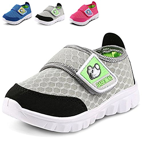 LONSOEN Kid Mesh Sneakers Athletic Velcro Light Weight Running Shoes(Toddler/Little Kid),Grey,6 M US Toddler (Sneakers Summer)