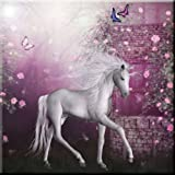 Rikki Knight White Unicorn on Pink Fairytale Design Ceramic Art Tile, 12'' x 12''